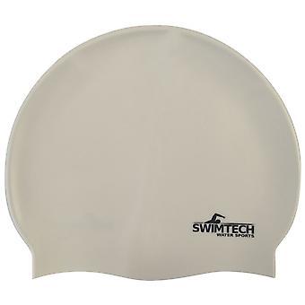 SwimTech Silicone Swim Cap White