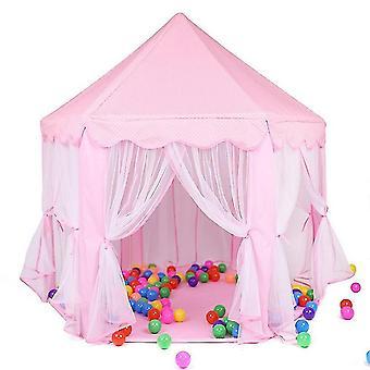Vaaleanpunainen leikki talo peli teltta lelut pallo kuoppa uima-allas kannettava taitettava prinsessa taitettava teltta linna lahjat teltat lelu lapsille lapset tyttö fa1681