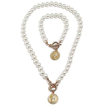 Mulheres Colar Beauty Head Pearl Alloy Pendant Clavicle Chain For Festival