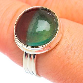 Green Fluorite Ring Tamanho 9 (925 Sterling Silver) - Handmade Boho Vintage Jewely RING67930