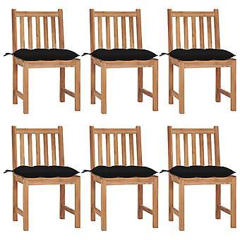 vidaXL sillas de jardín 6 piezas con cojín de madera maciza de teca