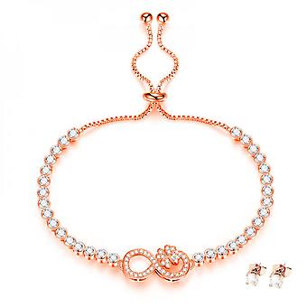 Infinity Flower Armband insvepta med kristaller från Swarovski - Rose 2 Pack