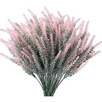 פרחי לבנדר מלאכותיים צמחים מזויפים עם זר חתונה מפלסטיק מזויף לעיצוב המטבח הביתי 12 יחידות סגולות