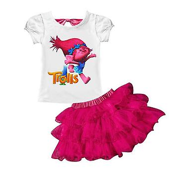 Girl's T-Shirt And Skirt , Trolls, Design 1