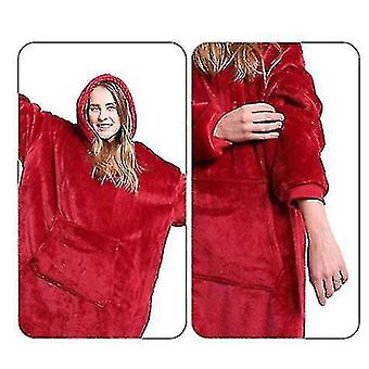 Oversized Hoodie Blanket Styled Pullover(Red)