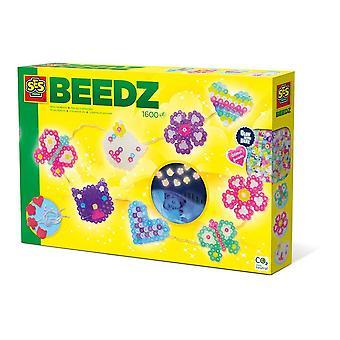 Beedz Kit de mosaïque de guirlandes lumineuses en perles de fer pour enfants, 1600 perles en fer