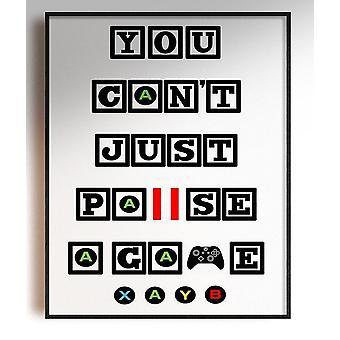 GnG Gaming A4 Word Sitat Innrammede Plakater For Barn Soverom Kunstverk Kan ikke Pause XB