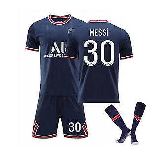 Messi #30 Jersey Home 2021-2022 New Season Paris Soccer T-shirts Jersey Set For Kids Youths