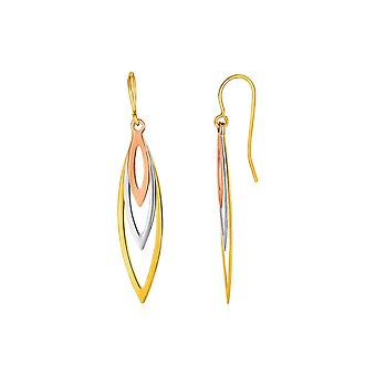 Tri-Tone Graduated Open Marquise Earrings in 10k Yellow   White   and Rose Gold