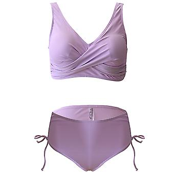 High Waist Solid Color Swimwear For Womens