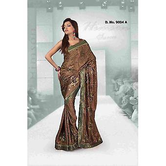 Designer di abbigliamento festival Aashiyana Fancy Georgette Sari con lavoro di sequenza