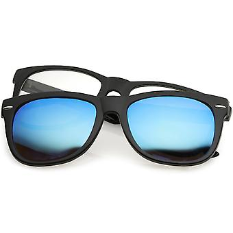 Premium Magnetic Clip-On Horn Rimmed Sunglasses Mirrored And Clear Square Lens 53mm