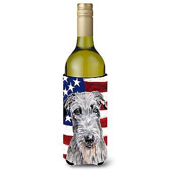 Scottish Deerhound with American Flag USA Wine Bottle Beverage Insulator Hugger
