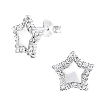 Star - 925 Sterling Silver Cubic Zirconia Ear Studs - W32066X