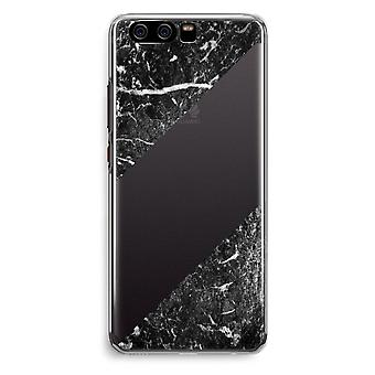 Huawei P10 Transparent Cover (Soft) - Black marble