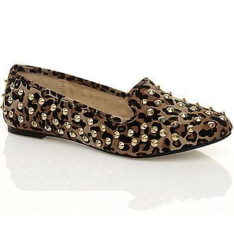 Ajvani womens plat lage hak bezaaid slippers instappers slip op pompen schoenen