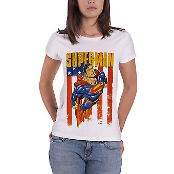 Superman T Shirt DC Comics Distressed Flying Official Womens White Skinny Fit