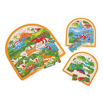 Bigjigs speelgoed stevige houten dinosaurus Pre historische getoogd Jigsaw puzzel