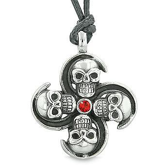 Skull übernatürliche Mächte Magie alle Kräfte der Natur Amulett rot Kristallanhänger verstellbare Halskette