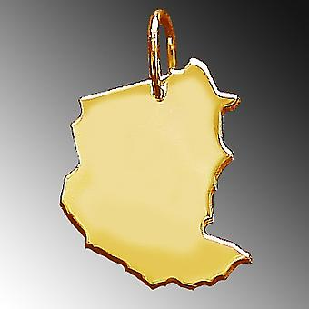 Trailer map SUDAN pendants in massive 585 gold