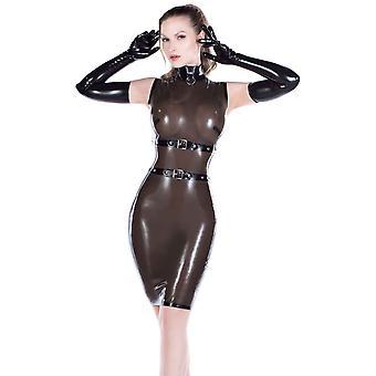 Westward Bound Dominatrix Dress. Black With Red Trim.