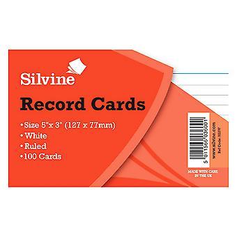 Silvine Small Record Cards Pencil Feint 100 Sheets