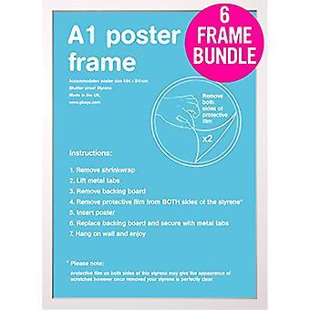 GB plakater 6 hvite A1 plakat rammer 59.4 x 84.1cm bunt