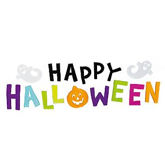 TRIXES Multicoloured Happy Halloween Window Gel Sticker Decorations