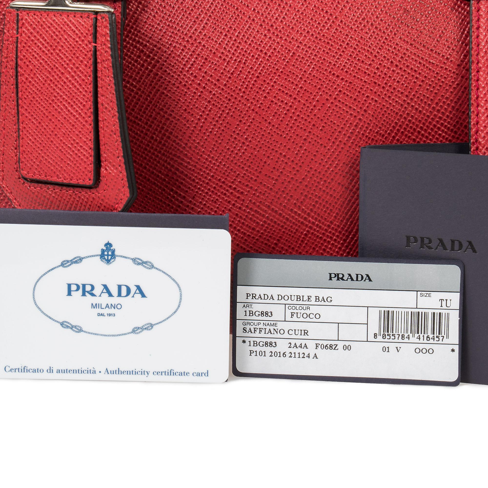 Prada Double Tote Leather Bag 1BG883 F068Z | Red/Fuoco | Small