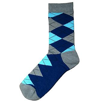 Bassin and Brown Argyle Socks - Grey/Navy/Light Blue