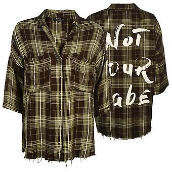 Firetrap Womens Blackseal Check skjorta lätta krage tryckknapp fastsättning
