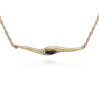Gemondo 9ct Yellow Gold Marquise safir- och diamantring Twist 19cm armband