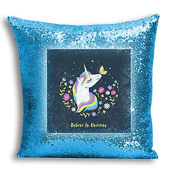 i-Tronixs - Unicorn Printed Design Blue Sequin Cushion / Pillow Cover for Home Decor - 14