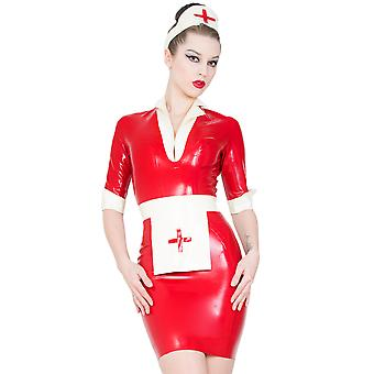 Skin Two Clothing Women's Sexy Nurse's Uniform Dress in Rubber Red & White
