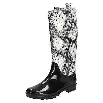 Kære plet på Snake Print effekt Wellington støvler X1133