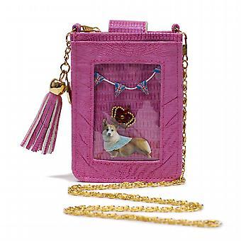 Pink Clippy Moc Croc Phone Bag