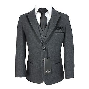Couche Tot Charcoal Grey Wool Effect Tweed Suit