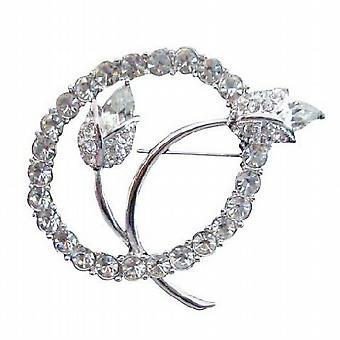 サークル ブローチ ピンでシミュレートされたダイヤモンドの w/ビンテージ チューリップ