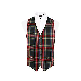 Dobell Mens Green Tartan Waistcoat Regular Fit 5 Button