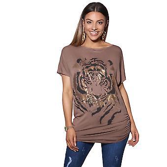 KRISP dames vrouwen oversize Batwing glanzende dierlijke tijger Folie Print lange top T shirt