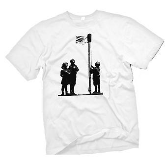 Mens T-shirt-Banksy Graffiti-Kunst