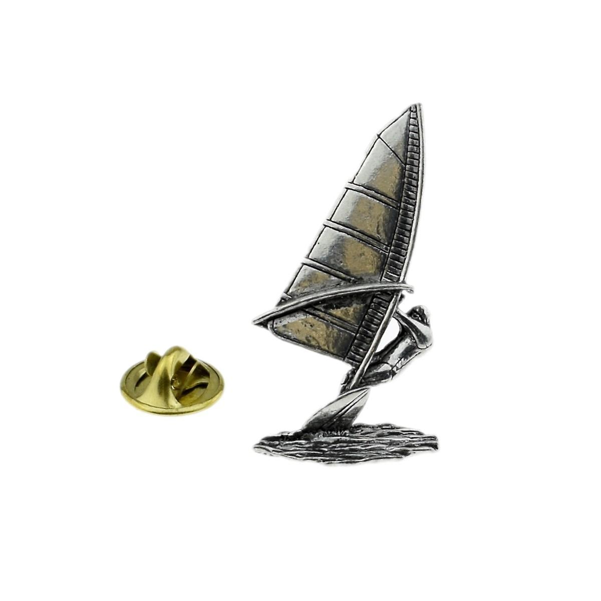 Windsurfer English Pewter Lapel Pin Badge, Windsurfing