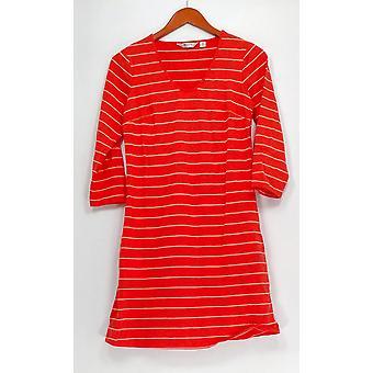 Liz Claiborne New York Dress XXS 3/4 Sleeve Striped Knit Red A240862