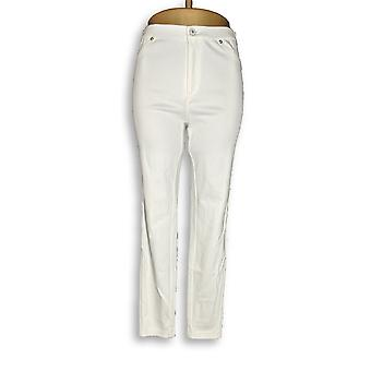 Isaac Mizrahi Live! Women's Jeans Knit Denim Ankle White A272903
