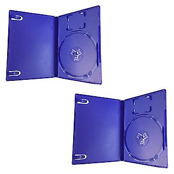 Compatible replacement retail game disc storage case for sony ps2 - 2 pack - blue