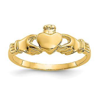 Erkek veya kız yüzük boyutu 3 için 14k Sarı Altın Dokulu Cilalı Claddaugh