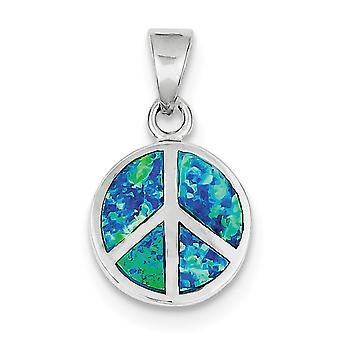 925 Sterling Silver Polished Rhodium plated Blue Inlay Simulated Opal Peace Sign Pendant Necklace Jewelry Gifts for Wome