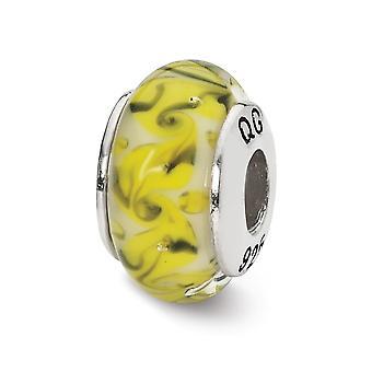 925 plata esterlina pulido reflejos amarillo verde remolino blanco remolino vidrio abalorios colgante collar regalos de joyería para wo