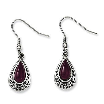 Stainless Steel Polished Shepherd hook Antiqued and Purple Cats Eye Teardrop Dangle Earrings Jewelry Gifts for Women