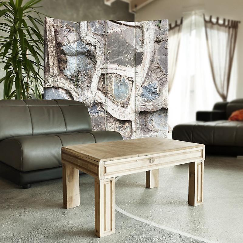 Diviseur de chambre, 4 panneaux, toile, mur de pierre 3